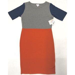 🖤 LuLaRoe Julia pencil fall color block dress L